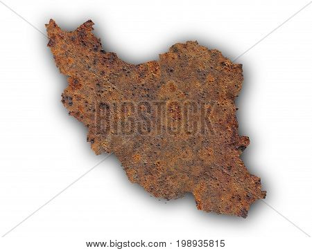 Map Of Iran On Rusty Metal