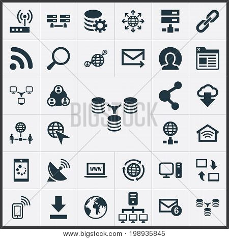 Elements Spreading, Server, Wifi And Other Synonyms Telephone, Letter And Contact.  Vector Illustration Set Of Simple Web Icons.