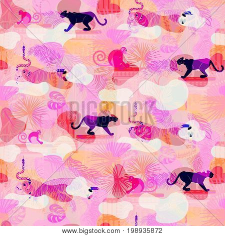 Pink eclectic rainforest wild animals and plants camo seamless pattern. Panther and monkey in the jungles.