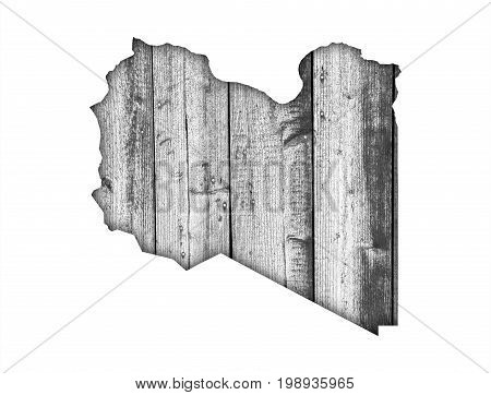 Map Of Libya On Weathered Wood