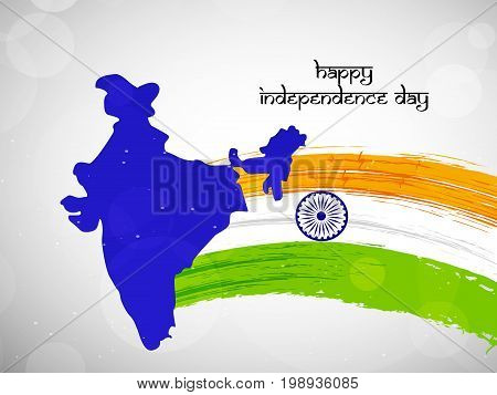 illustration of India flag with Happy Independence Day text and India Map on the occasion of India Independence Day