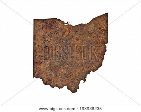 Map Of Ohio On Rusty Metal