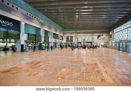 BARCELONA, SPAIN - CIRCA NOVEMBER, 2015: inside Barcelona Airport. Barcelona-El Prat Airport is an international airport. It is the main airport of Catalonia, Spain.