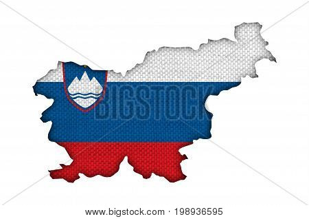 Map And Flag Of Slovenia On Old Linen