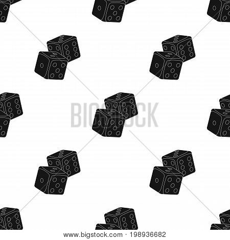 Dice for games in the casino. Stones to throw on the table for good luck.Kasino single icon in black style vector symbol stock web illustration.
