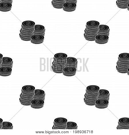 A pile of coins for reckoning in a casino. Gambling.Kasino single icon in black style vector symbol stock web illustration.