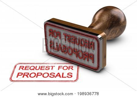 Request for proposals printed on a white background with rubber stamp RFP concept. 3D illustration