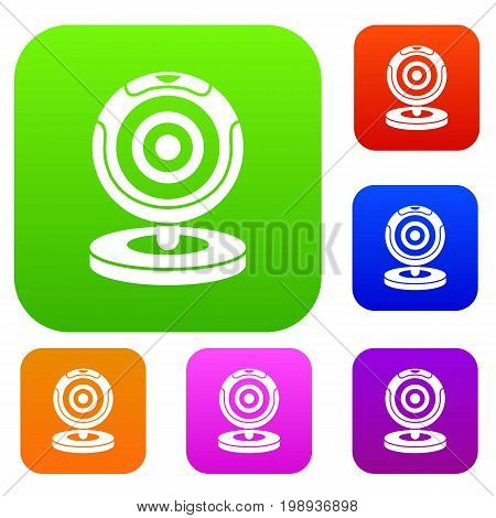 Webcam set icon in different colors isolated vector illustration. Premium collection