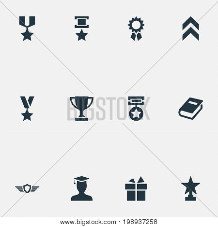 Elements Trophy, Prize, Guard And Other Synonyms Reward, Victory And Achievement.  Vector Illustration Set Of Simple Trophy Icons.