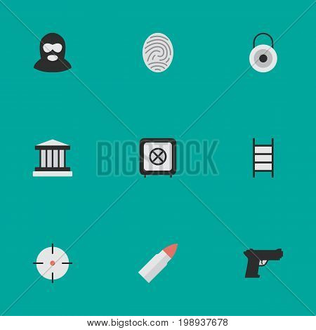 Elements Vault, Criminal, Lock And Other Synonyms Grille, Criminal And Protected.  Vector Illustration Set Of Simple Offense Icons.