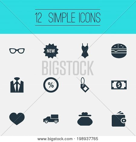Elements Purse, Uniform, Label And Other Synonyms Uniform, Butty And Underwear.  Vector Illustration Set Of Simple Sale Icons.