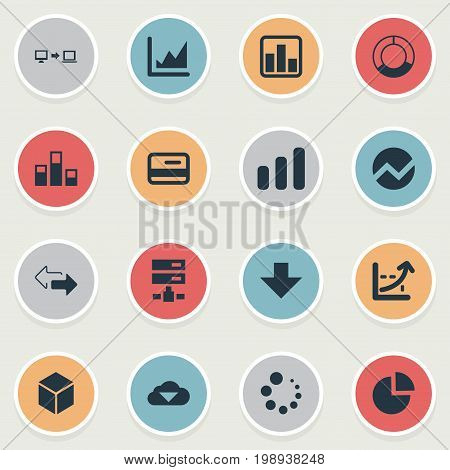 Elements Double Arrow, Data Sending, Cycle Chart And Other Synonyms Connection, Graph And Coordinate.  Vector Illustration Set Of Simple Business Icons.