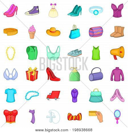 Woman dress icons set. Cartoon style of 36 woman dress vector icons for web isolated on white background