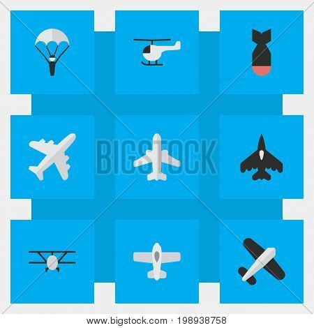 Elements Flying Vehicle, Airliner, Airplane And Other Synonyms Bomb, Aviation And Craft.  Vector Illustration Set Of Simple Aircraft Icons.