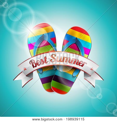 Vector Summer Holiday Design With Slipper And Ribbon On Blue Sea Background. Eps10 Illustration.
