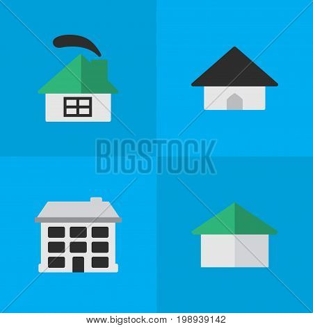 Elements Structure, Architecture, Base And Other Synonyms Building, Home And House.  Vector Illustration Set Of Simple Real Icons.