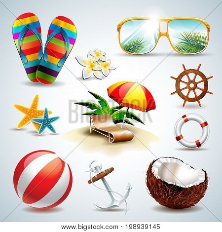 Vector Summer Holiday Icon Set On Clear Background. Eps10 Illustration.