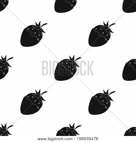 Strawberry in chocolate icon in black design isolated on white background. Chocolate desserts symbol stock vector illustration.