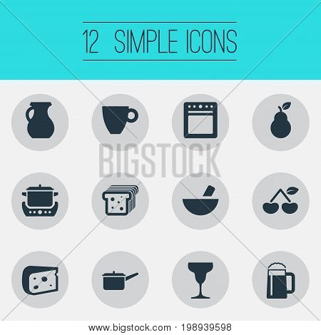 Elements Wineglass, Bread, Grinder And Other Synonyms Cup, Bartlett And Casserole.  Vector Illustration Set Of Simple Cuisine Icons.