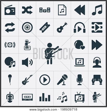 Elements Album, Speech, Coupon And Other Synonyms Record, Meloman And Song.  Vector Illustration Set Of Simple Sound Icons.