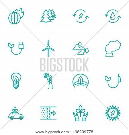 Set Of 16 Bio Outline Icons Set