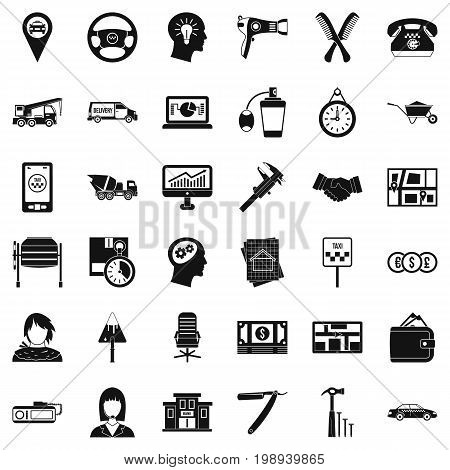 Office work icons set. Simple style of 36 office work vector icons for web isolated on white background