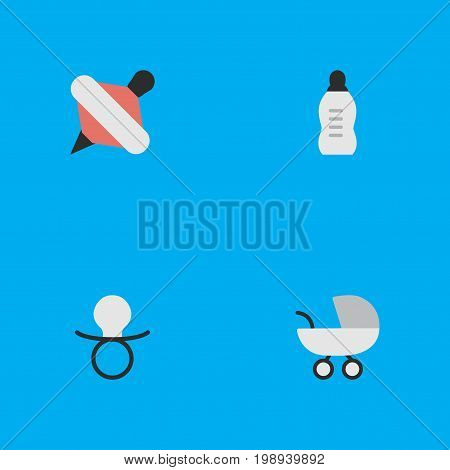 Elements Yule, Nipple, Vial And Other Synonyms Yule, Pacifier And Bottle.  Vector Illustration Set Of Simple Child Icons.
