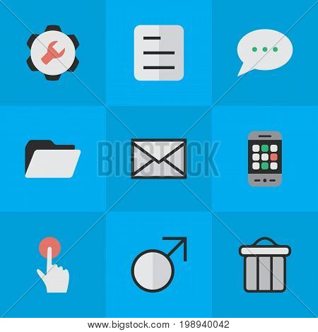 Elements Settings, Switch Knob, Mars Sign And Other Synonyms Settings, Bin And Bubble.  Vector Illustration Set Of Simple Design Icons.