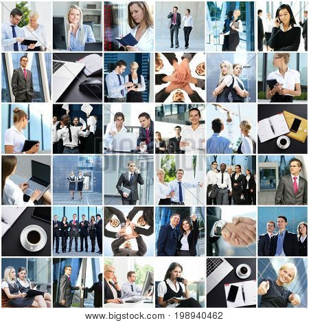 Big collage of different businesspeople. Office, finance, and corporative relations concept.
