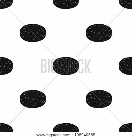 Donut with chocolate glaze icon in black design isolated on white background. Chocolate desserts symbol stock vector illustration.