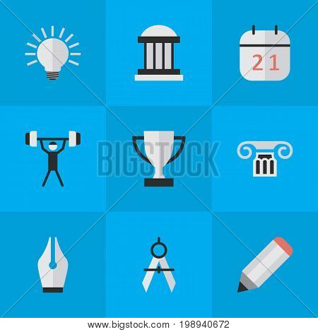 Elements Date Block, University, Goblet And Other Synonyms Award, Bodybuilding And Pen.  Vector Illustration Set Of Simple Education Icons.