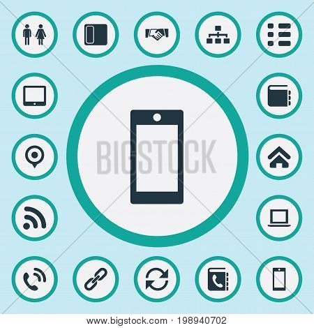 Elements House Location, Palmtop, Company Number And Other Synonyms Phone, Computer And Refresh.  Vector Illustration Set Of Simple Communication Icons.