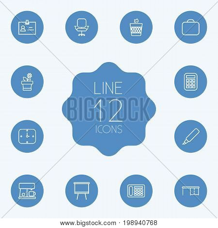 Set Of 12 Bureau Outline Icons Set