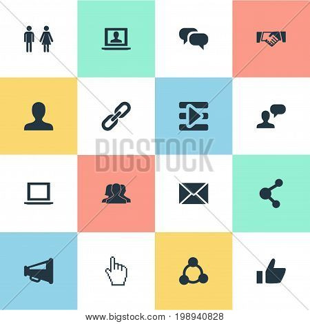 Elements Chain, Genus, Chat And Other Synonyms Chain, Playlist And Loudspeaker.  Vector Illustration Set Of Simple Media Icons.