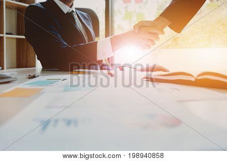 Business Partnership Meeting Concept. Image Businessmans Handshake. Successful Businessmen Handshaki