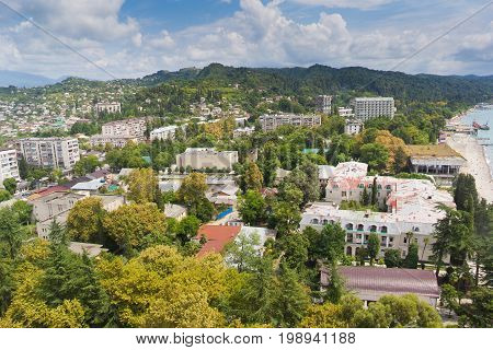 Day aerial cityscape of Sukhum downtown, Abkhazia in summer from the roof