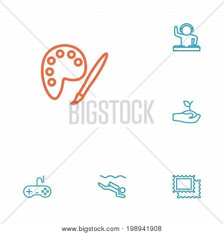 Set Of 6 Entertainment Outline Icons Set