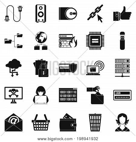 Web project icons set. Simple set of 25 web project vector icons for web isolated on white background