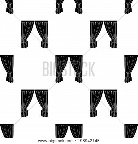 Curtains with drapery on the cornice.Curtains single icon in black style vector symbol stock illustration . poster