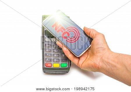 Payment in trade with the nfc system with a mobile phone. Top view white background