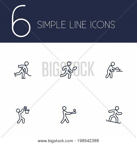 Set Of 6 Sport Outline Icons Set
