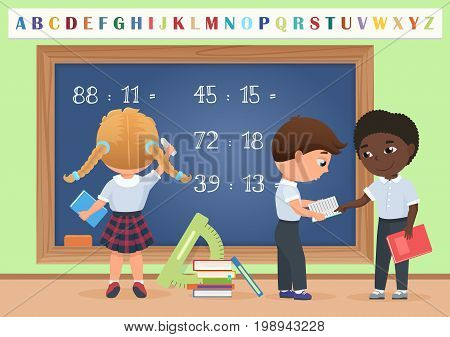 Kids pupils in classroom near school board chalkboard background vector illustration. Cartoon vector illustration