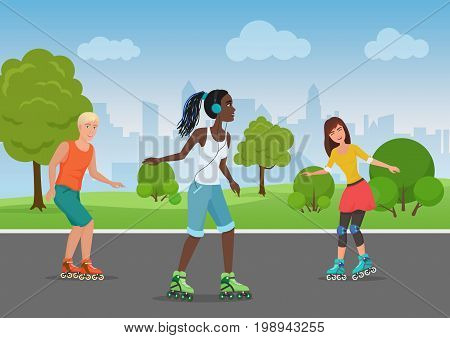 Vector illustration of happy people riding roller skates in the park