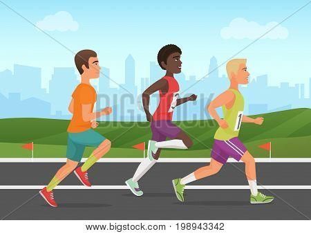 Vector illustration of cheerful black and white sportsmen running on stadium