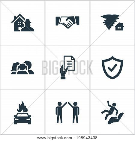 Elements Property Break-In, Contract, Slide Down And Other Synonyms Safeguard, Man And Car.  Vector Illustration Set Of Simple Insurance Icons.