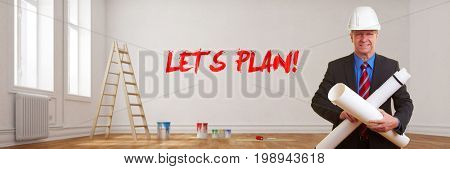 Architect in empty room during renovation with