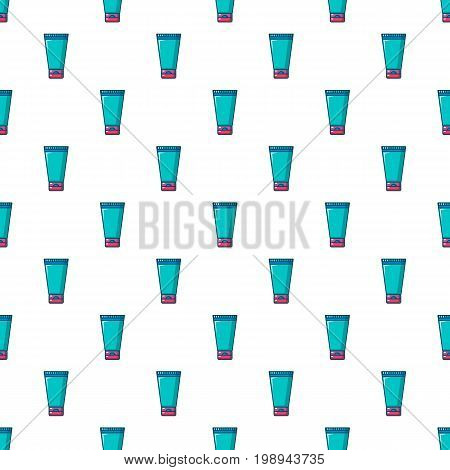 Creme tube pattern in cartoon style. Seamless pattern vector illustration