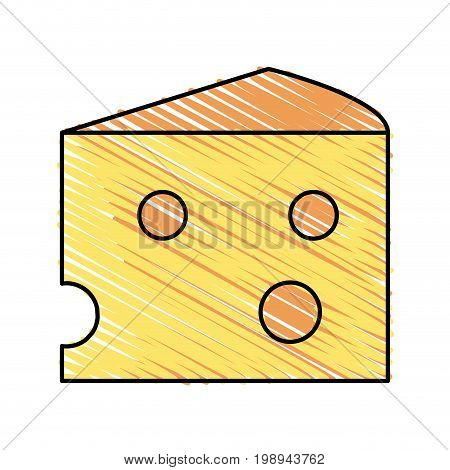 Colorful swiss cheese doodle over white background vector illustration