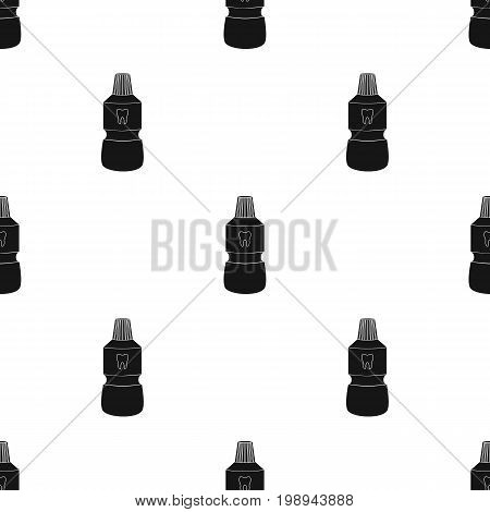 Bottle of mouthwash icon in black style isolated on white background. Dental care symbol vector illustration.