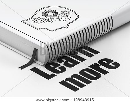 Learning concept: closed book with Black Head With Gears icon and text Learn More on floor, white background, 3D rendering